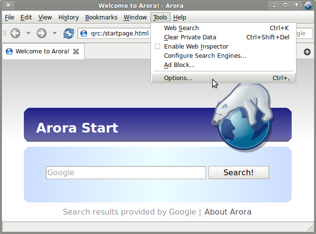 how to use socks in arora browser options